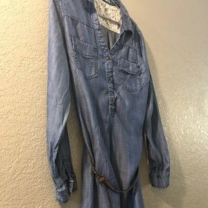 Maurices LS V-neck button up with belt.